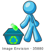 #35880 Clip Art Graphic Of A Sky Blue Guy Character Tossing A Bottle Into A Recycling Bin