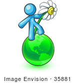 #35881 Clip Art Graphic Of A Sky Blue Guy Character Holding A Daisy On A Globe