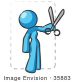 #35883 Clip Art Graphic Of A Sky Blue Lady Character Cutting A Coupon