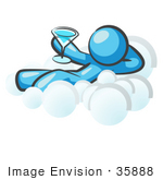 #35888 Clip Art Graphic Of A Sky Blue Guy Character Drinking On A Cloud