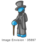 #35897 Clip Art Graphic Of A Sky Blue Guy Character As Abraham Lincoln