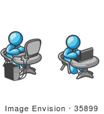 #35899 Clip Art Graphic Of Sky Blue Guy Characters Working On Computers