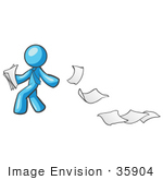 #35904 Clip Art Graphic Of A Sky Blue Guy Character Dropping Papers