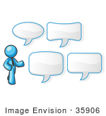 #35906 Clip Art Graphic Of A Sky Blue Guy Character With Text Balloons