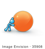 #35908 Clip Art Graphic Of A Sky Blue Guy Character Pushing An Orange Orb