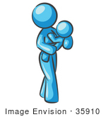 #35910 Clip Art Graphic Of A Sky Blue Lady Character With A Baby