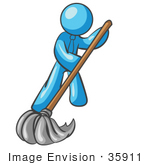 #35911 Clip Art Graphic Of A Sky Blue Guy Character Mopping