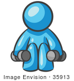 #35913 Clip Art Graphic of a Sky Blue Guy Character Lifting Weights by Jester Arts