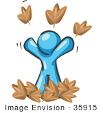 #35915 Clip Art Graphic Of A Sky Blue Guy Character Throwing Leaves