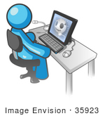 #35923 Clip Art Graphic Of A Sky Blue Guy Character Using A Computer