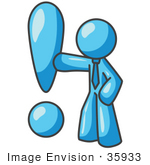#35933 Clip Art Graphic Of A Sky Blue Guy Character With An Exclamation Point