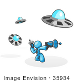 #35934 Clip Art Graphic Of A Sky Blue Guy Character With Ufos
