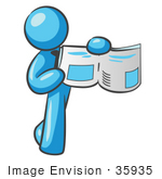 #35935 Clip Art Graphic Of A Sky Blue Guy Character Holding A Book Open