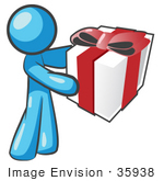 #35938 Clip Art Graphic Of A Sky Blue Guy Character Holding A Gift