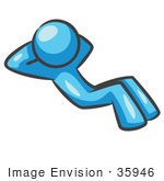 #35946 Clip Art Graphic Of A Sky Blue Guy Character Doing Situps