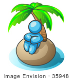 #35948 Clip Art Graphic Of A Sky Blue Guy Character On An Island