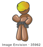 #35962 Clip Art Graphic Of A Brown Guy Character Wearing A Toolbelt And Hardhat Waving