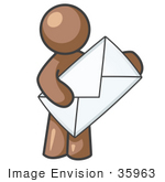 #35963 Clip Art Graphic Of A Brown Guy Character Carrying An Envelope
