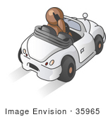 #35965 Clip Art Graphic Of A Brown Guy Character Driving And Talking On A Phone