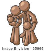 #35969 Clip Art Graphic Of A Brown Guy Character Family