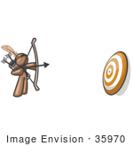 #35970 Clip Art Graphic Of A Brown Guy Character Shooting Arrows