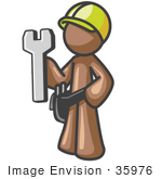 #35976 Clip Art Graphic Of A Brown Guy Character Holding A Wrench