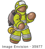 #35977 Clip Art Graphic Of A Brown Guy Character Fireman