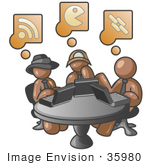 #35980 Clip Art Graphic Of Brown Guy Characters Using Laptops At A Table