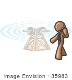 #35983 Clip Art Graphic Of A Brown Guy Character Talking On A Phone By A Tower