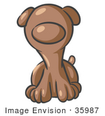 #35987 Clip Art Graphic Of A Brown Puppy Dog