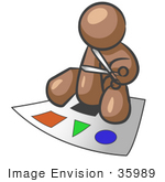#35989 Clip Art Graphic Of A Brown Guy Character Cutting Out Shapes