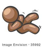 #35992 Clip Art Graphic Of A Brown Guy Character Rolling Around And Giggling