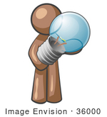 #36000 Clip Art Graphic of a Brown Guy Character Holding a Light Bulb by Jester Arts