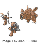 #36003 Clip Art Graphic Of Brown Guy Characters Fighting A Dragon