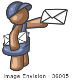 #36005 Clip Art Graphic Of A Brown Guy Character Delivering Mail