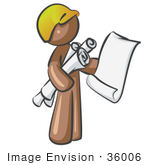 #36006 Clip Art Graphic Of A Brown Guy Character Holding Rolled Blueprints