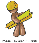 #36008 Clip Art Graphic of a Brown Guy Character Carrying a Construction Beam by Jester Arts