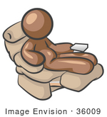 #36009 Clip Art Graphic Of A Brown Guy Character Relaxing In A Lazy Chair