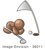 #36011 Clip Art Graphic Of A Brown Guy Character Blowing A Golf Ball Into A Hole