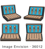 #36012 Clip Art Graphic Of Brown Guy Characters On Laptop Computers