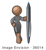 #36014 Clip Art Graphic of a Brown Lady Character Standing With a Pen by Jester Arts
