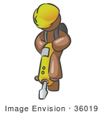 #36019 Clip Art Graphic Of A Brown Guy Character Operating A Jack Hammer