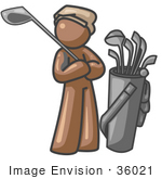 #36021 Clip Art Graphic Of A Brown Guy Character Golfing