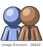 #36022 Clip Art Graphic Of A Brown Guy Character With An Employee