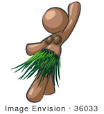 #36033 Clip Art Graphic Of A Brown Lady Character Hula Dancing by Jester Arts