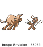 #36035 Clip Art Graphic Of A Brown Guy Character Fighting A Bull With A Whip