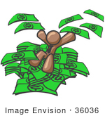 #36036 Clip Art Graphic Of A Brown Guy Character Jumping In Cash