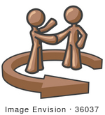 #36037 Clip Art Graphic Of Brown Guy Characters Shaking Hands In An Arrow