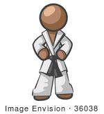 #36038 Clip Art Graphic Of A Brown Guy Character In A Karate Suit