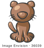 #36039 Clip Art Graphic of a Brown Kitty Cat by Jester Arts
